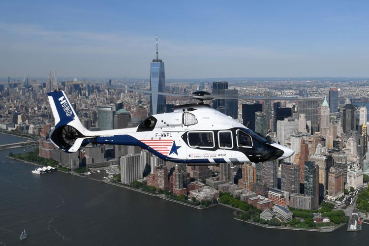 The Airbus H160 performing a demo tour over New York City