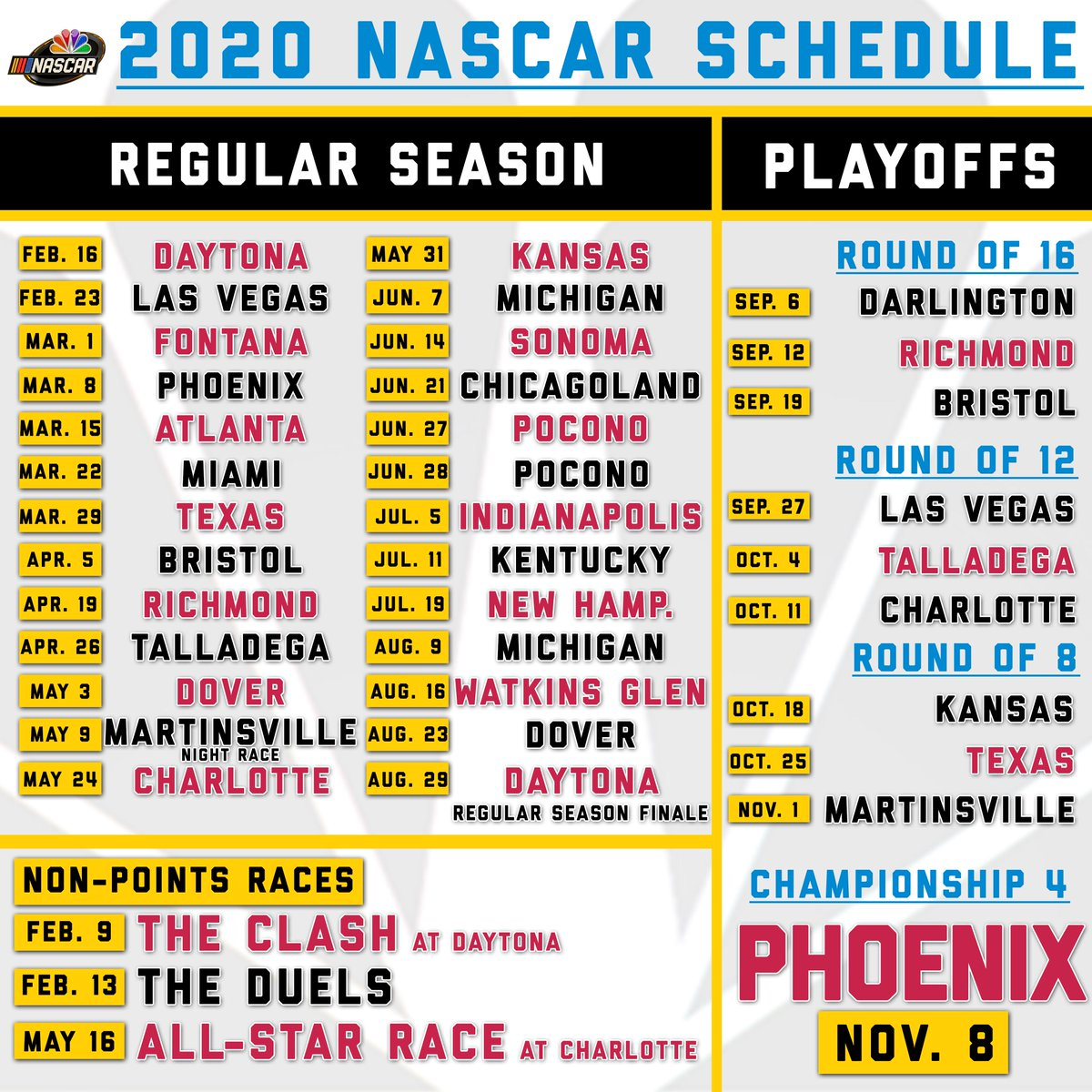It's just a photo of Luscious Printable Nascar Schedule 2020